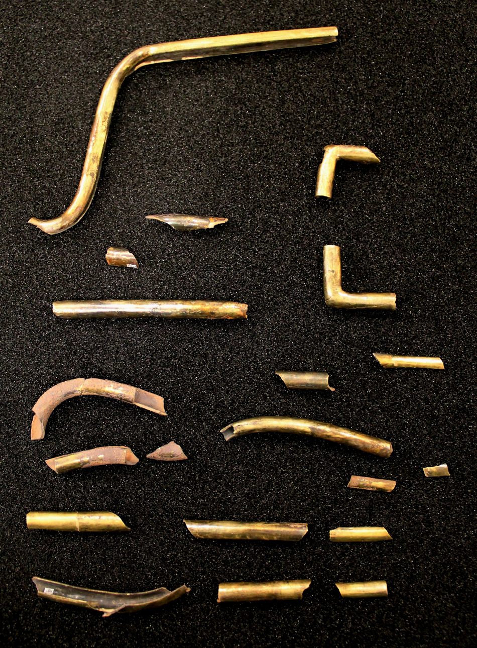 Collection of silver gilt tubing fragments